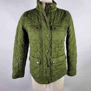 J Crew Quilted Downtown Field Jacket Deep Moss Green Olive Womens XS G7608